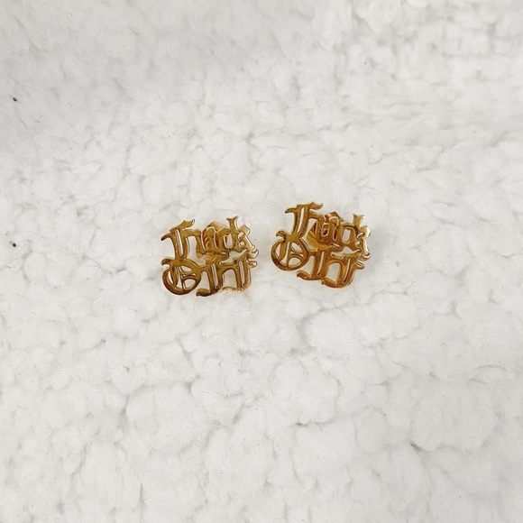 "GOLD ""F OFF"" STUD EARRINGS"